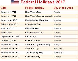 2017 calendar with federal holidays printable calendar templates