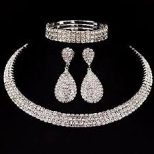 necklace with earrings set images Crystal diamond choker necklace earrings bracelet jewelry set jpg