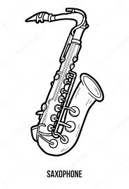 coloring book children musical instruments saxophone