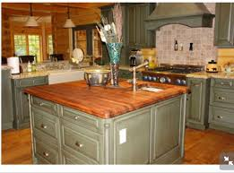 green kitchen islands green cabinets with butcher block countertops green