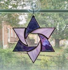 stained glass star suncatcher star of david judaica purple