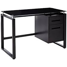 Metal Computer Desk Amazon Com Merax Computer Table With Glass Top And Metal Legs