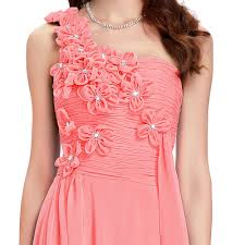 wholesale coral bridesmaid dresses long one shoulder flower gown