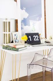 White Acrylic Desk by Furniture White Stain Wooden Desk Legs Feature Gold Hairpin Desk