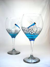 turquoise dragonfly wine glasses hand painted glassware goblet