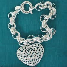 link bracelet with heart charm images Sterling silver belcher bracelet with heart charm jpg