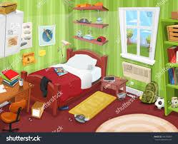 Bookshelf In Bedroom Teenager Bedroom Object Illustration Cartoon Kid Teenager Stock