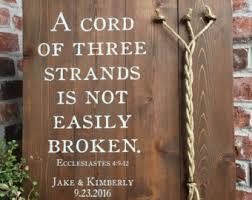 three cords wedding ceremony a cord of three strands sign wedding ceremony sign a cord of