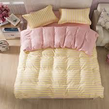 Pink And Yellow Bedding 3 Or 4pcs Suit Pink Yellow Stripe Reactive Dyeing Polyester Fiber