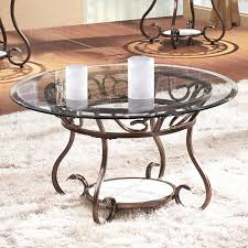 joveco red bronze metal frame round coffee table with tempered