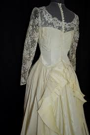 1890s style ivory victorian lace wedding gown dress w pleated