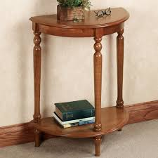 decor exciting half round wood foyer table in natural stained for