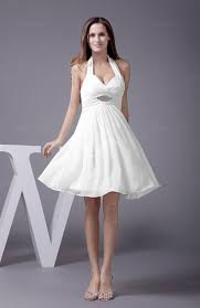 simple knee length wedding dresses white halter sleeveless zip up knee length flower prom