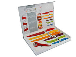 coloured kitchen knives 7 pc multi colour waltmann und sohn kitchen knife set with rubber