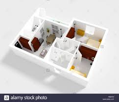 Small Flat 3d Rendering Of Small Flat With Walls And Furniture Stock Photo