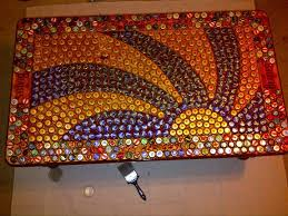 beer cap table top hey reddit check out this beatles bottle cap table i ve been