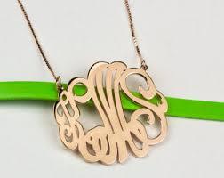 Monogram Pendant Necklace With Initials Monogram Jewelry Etsy