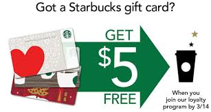5 dollar gift cards free 5 dollar credit from starbucks when you register your card