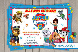custom invites patrol birthday invitations nick jr custom invites