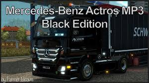 mercedes truck 2016 mercedes benz actros mp3 black edition skin v1 0 truck skin ets2 mod