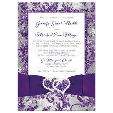purple wedding invitations winter photo wedding invitation purple silver white
