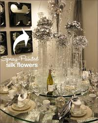 Silk Flower Arrangements For Dining Room Table I Can Totally Afford Dollar Tree Flowers And Silver Spray Paint