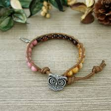 cord bracelet with charm images Staring owl waxed cord bracelet with charm jpg