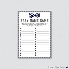 bow tie baby shower baby name game printable instant