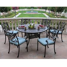 Patio Round Tables Meadow Decor Kingston 7 Piece Round Patio Dining Set