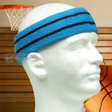 basketball headbands thick basketball headband pro black stripe in sky blue 3pcs
