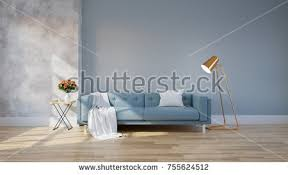 Living Room With Blue Sofa Modern Interior Living Room Blue Sofa Stock Illustration 663523561
