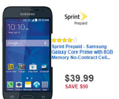 sprint black friday deals 39 99 sprint prepaid samsung galaxy core prime with 8gb memory