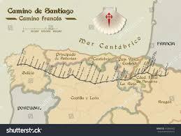Camino De Santiago Map Map Saint James Way All Stages Stock Vector 572806432 Shutterstock