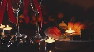 slowmotion interior dim lights candles two glasses of