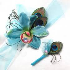 Blue Orchid Corsage Bright Blue Tropical Orchid And Peacock Prom Formal Corsage And