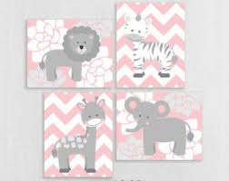 Pink And Gray Nursery Decor Baby Nursery Wall Pink Gray Nursery Decor Elephant