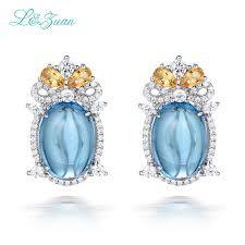 womens stud earrings l zuan s925 silver womens stud earrings classic 12 27ct topaz blue