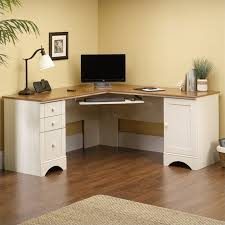 Corner Computer Desk With Drawers Corner Computer Desk In Antiqued White 403793