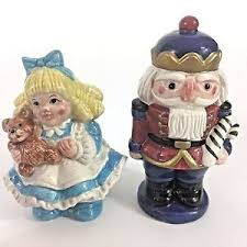 fitz floyd vtg nutcracker sweet retired salt pepper shaker set 2