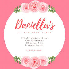pink floral 1st birthday party invitation templates by canva