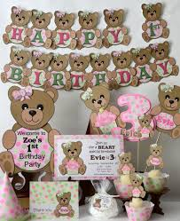 pink teddy baby shower or 1st birthday decorations