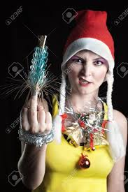 out of focus bad christmas showing middle finger stock photo