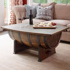 Handmade Vintage Oak Whiskey Barrel Coffee Table Wine Enthusiast