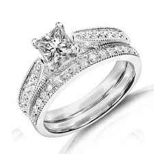 cheap bridal sets affordable antique diamond wedding ring set on 9ct white gold