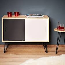 retro style sideboard vintage wooden cabinet two doors white and