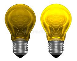 white light bulbs not yellow yellow light bulbs one glowing another not stock illustration
