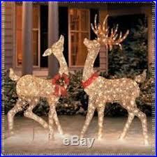 buck doe sculpture set pre lit reindeer deer light outdoor yard decor