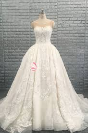 luxury beaded lace ball gown wedding dress with cathedral train