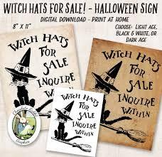 halloween witch hat printable sign vintage digital download
