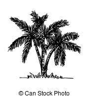 vectors of doodle coconut tree icon draw illustration design
